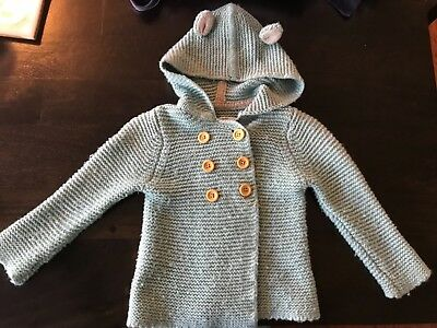 Mini Boden Baby Boden double breasted button sweater 12-18 mo blue hoodie ears