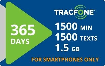 Tracfone 1 Year of Service 365 Days and 1800 Minutes   Smartphones & BYOP Only