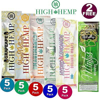 High Hemp COMBO DEAL Herbal Organic Wraps 25 pouches(50 total wraps) 0 Nicotine