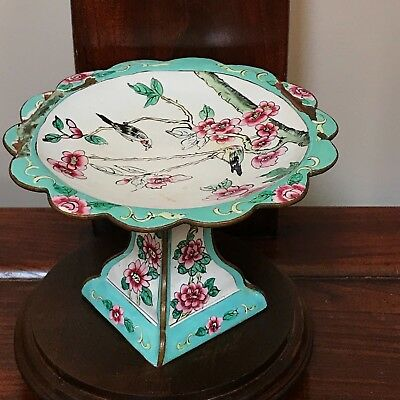 Vintage Chinese Hand Painted Floral/Bird Brass Enamel High Foot Plate-喜上眉梢