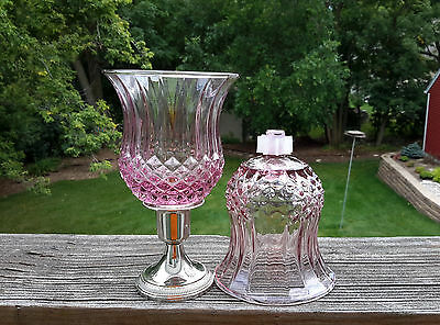 2 HOMCO 1201 DI* PLUM Cathedral Diamond PEG Votive Candle Holders W/NEW GROMMETS