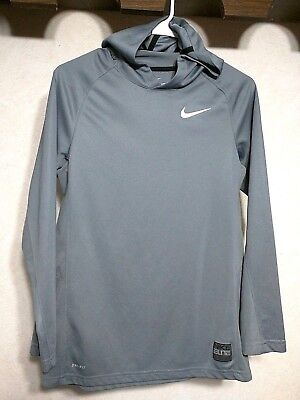 Nike Dri-Fit Elite Boy's Lightweight Gray Pullover Stretch Logo Hoodie- Size XL