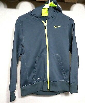 Nike Therma-Fit Boy's Full Zip 2 Pocket Long Sleeve Logo Stretch Hoodie- Size L