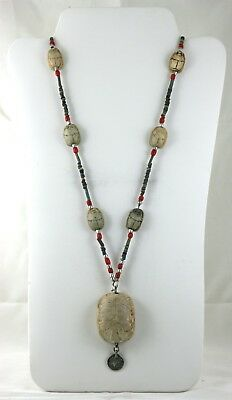 Antique Egyptian Scarab Necklace Large Pendant Coral Turquoise Other Beads