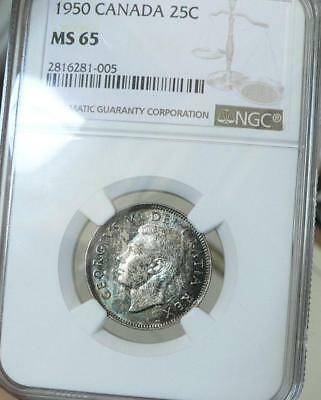 1950 Canada 25 Cents NGC MS65 Original color business strike gem