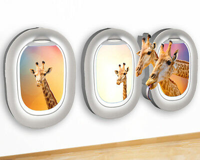 Wall Stickers Giraffes Heads Safari Animals Canvas Picture Poster Art Room G752