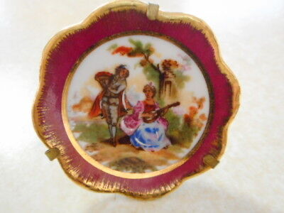 "Limoge France Tiny Mini Plate with Attached Stand 1-3/4""  Excellent - Collectors"