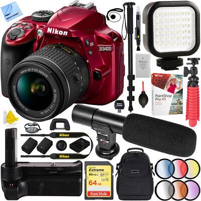 Nikon D3400 24.2 MP DSLR Camera w/ AF-P DX 18-55mm VR Lens Kit (Red) 64GB Kit