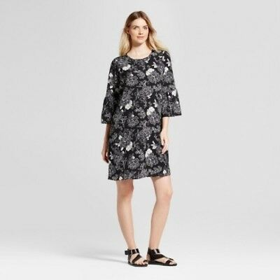 NEW Isabel Maternity Women's Bell Sleeve Floral Print Dress - Black