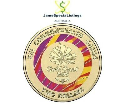 🇦🇺 2018 $2 Coin Gold Coast Commonwealth Games Red Two Dollar Coloured UNC Mint