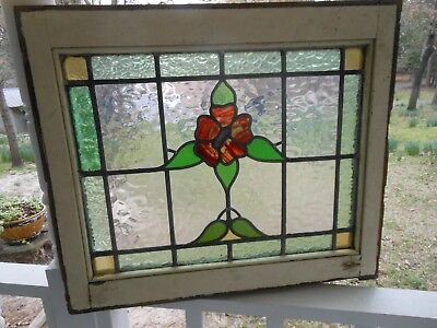 LA-251 Lovely & Large Older Leaded Stained Glass Window From England