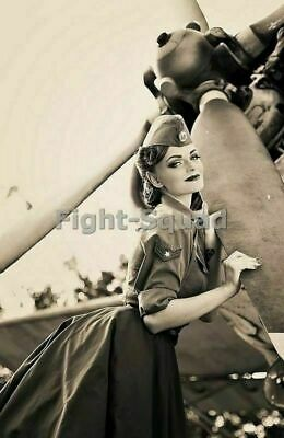 WW2 Picture Photo Pin up sexy girl Pinup on the propeller 2536