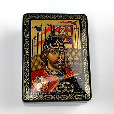 Signed Russian Hand Painted Lacquer Box With Portrait of Royal
