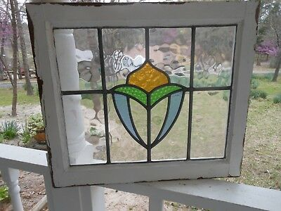 "LA-124 Lovely Older Leaded Stained Glass Window F/England 22"" W X 19"" Overall T"