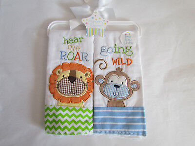NWT Nursery Rhyme Adorable Monkey Lion Appliqued Embroidered Baby Burp Cloths