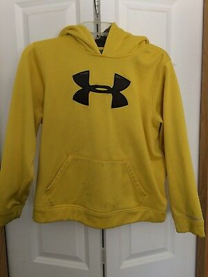 Under Armour Boys Yellow Nlack Logo Swedtshirt Hoodie Yourh XL Stains