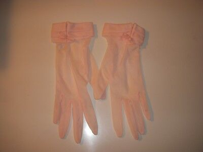 Vintage Fownes Pretty Pink NYLON GLOVES With Bows Made in USA SIZE 7