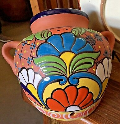 TALAVERA MEXICAN POTTERY - TERRA COTTA SPILLING SMALL PLANTER (Assorted Colors)