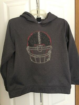 Under Armour Gray Boys Football Hoodie Swestshirt Youth L Large