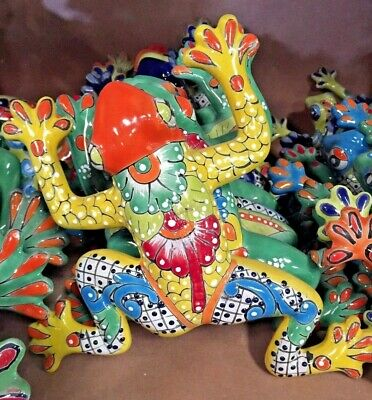 TALAVERA MEXICAN POTTERY - ANIMALS - MED FROGS - (Assorted Colors)