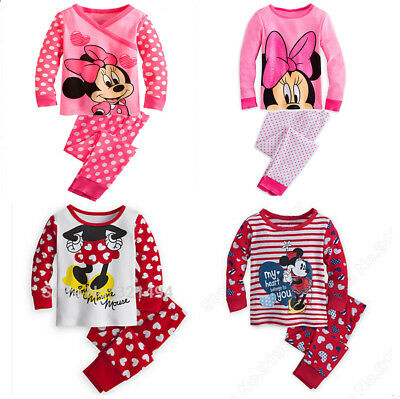 New Girls Pyjamas Sleepwear PJs Minnie Mouse Size 3 4,5,6,7,8,9,10 years Cotton