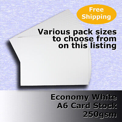 Economy Card Stock WHITE A6 Size 250gsm #H5302