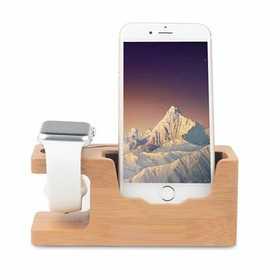 Bamboo Wood Charging Dock Station Stand 2 in 1 Charger for iPhone Apple Watch