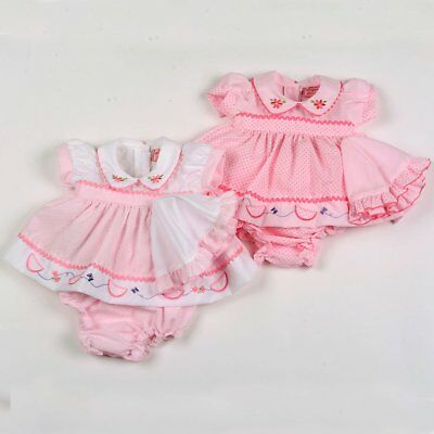 Premature Baby Girl Clothes Dress set Hat Knickers Pink White 3-10lbs reborn