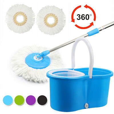 Super Spin 360 Degree Rotating Spinning Mops Bucket Home Cleaning 2 Mop Heads UK