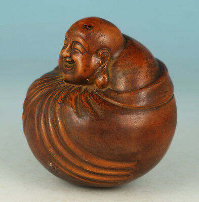 China Old Boxwood Collection Handmade Carved Circle Statue Buddha