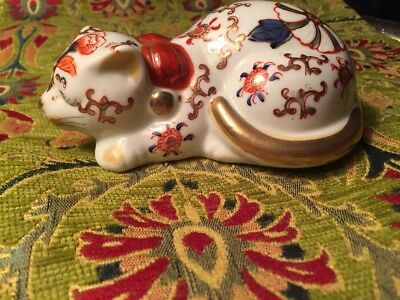 Rare Vintage Chinese Sleeping Cat Figurine Porcelain Hand Painted Gold /Flowers
