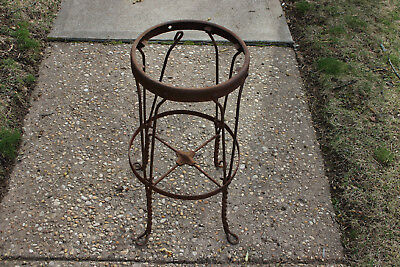 Antique Industrial Metal Rustic Country Barn Stool Flower Pot Garden Stand