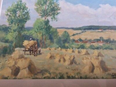 PRIVATE COLLECTION GEORGES LATTES SIGNED ORIGINAL PAINTING HARVEST FRENCH 1960s