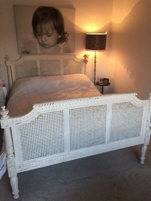 Beautiful King Size Shabby Chic French Louis Rattan Ivory Solid Birch Wood Bed