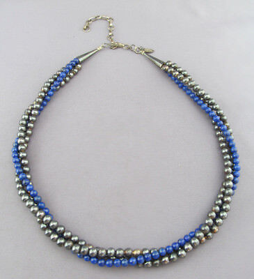 Vintage Sterling Running Bear Triple Strand Ball Bead Lapis Adjustable Necklace