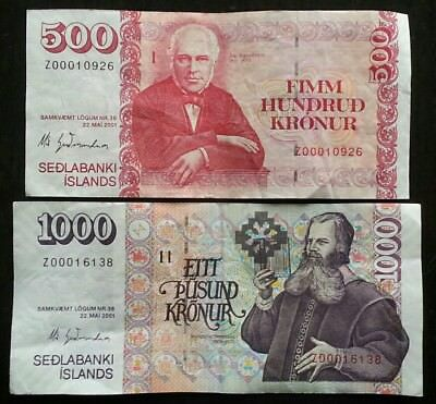 ICELAND Lot of 2 Banknotes Z Serial Number Prefix Replacement Notes