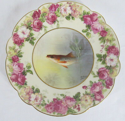 Antique Set of (12) Imperial Limoges France Hand Painted Gilt Fish Plates NR yqz