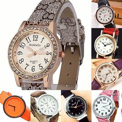 Women Watch with Numbers Steel case Faux Leather Analog Quartz Wrist watch