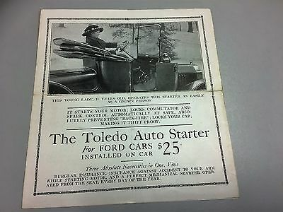 Ford Automobile Early 1900's Toledo Auto Starter for Ford Cars Pamphlet