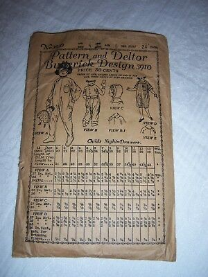 ANTIQUE BUTTERICK PATTERN 3910~CHILD'S NIGHT DRAWERS (PJs) SIZE 6 YEARS ~ 1919
