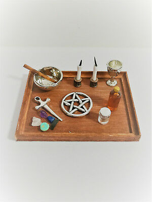 Dollhouse Miniature Wiccan Altar Set Up 1:12 Scale Handmade Crystals Dagger ++