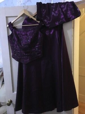 Iridescent Purple Dynasty Two Piece  With Stole Size 14