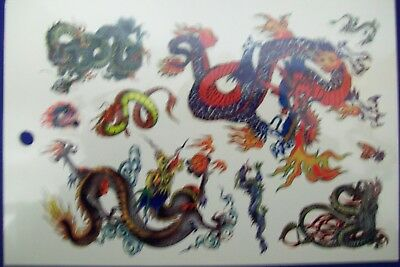 1x SHEET OF APPROX 7  TEMPORARY  CHINESE DRAGON TEMPORARY TATTOOS