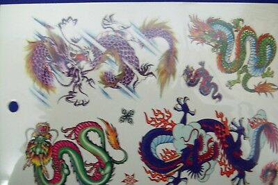 1x SHEET OF APPROX 5  TEMPORARY  CHINESE DRAGON TEMPORARY TATTOOS
