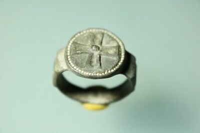 Ancient Fantastic European Medieval Bronze Cross Ring