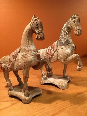 Antique Chinese Tang Style Carved Wood Horses (2pc)