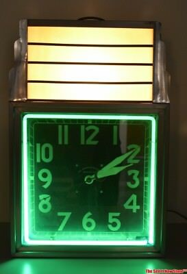 RARE All American Co Chicago Art Deco Advertising Marquee Neon Lighted Clock
