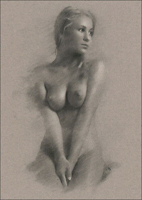 Classical Female Nude DRAWING Charcoal Chalk ORIGINAL Art naked lady NO RESERVE
