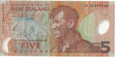 $5 Reserve Bank of New Zealand note - New Zealand Polymer Five Dollar bill