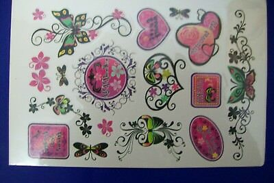 1x SHEET OF APPROX 13 TEMPORARY FLOWERS/BUTTERFLIES/HEARTS TEMPORARY TATTOOS